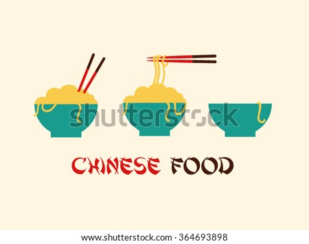 chinese cuisine food noodles logo illustration with blue bowl and chopsticks in flat design style and brown and red chinese food sign calligraphy typography text with light white cream background - stock vector