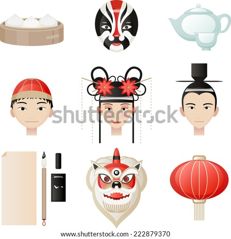 Chinese culture elements. Rice ball, Masks, Tea pot, tea cup, chinese mandarin hat, traditional chinese hat, chinese lantern, chinese lamp, writing quill, ink, paper. Vector illustration Cartoon.  - stock vector