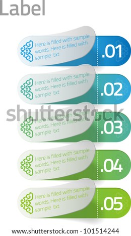 chinese design colorful label (green and blue) - stock vector