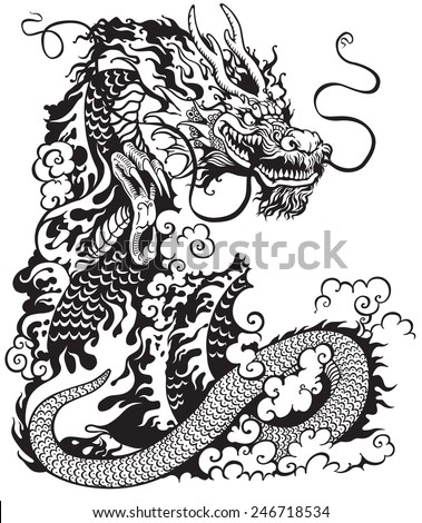 chinese dragon, black and white tattoo illustration  - stock vector