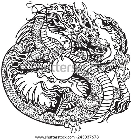 chinese dragon holding pearl , black and white tattoo illustration