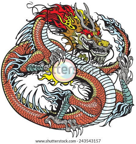 chinese dragon holding pearl , tattoo illustration