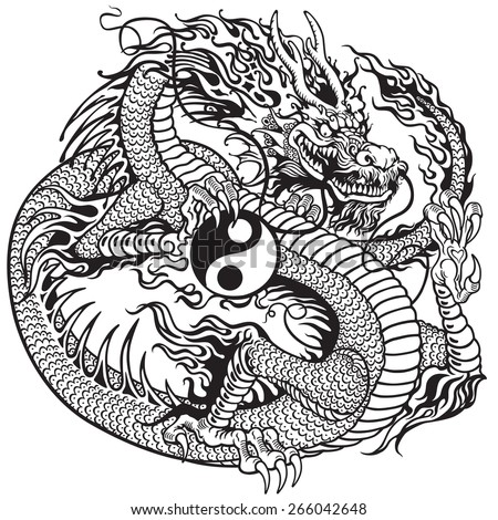 chinese dragon holding yin yang symbol , black and white tattoo illustration