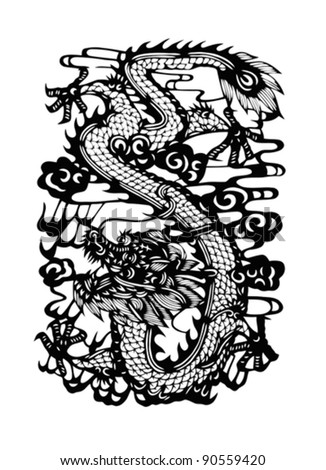 Chinese dragon in black color