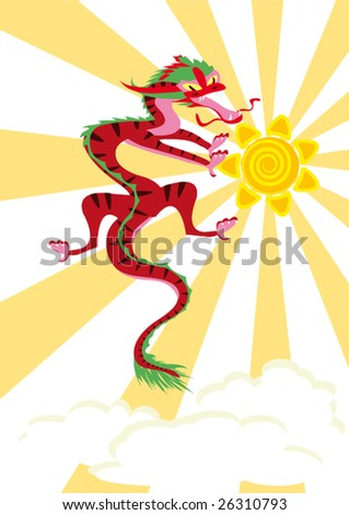 Chinese dragon in the sky. Vector illustration. - stock vector