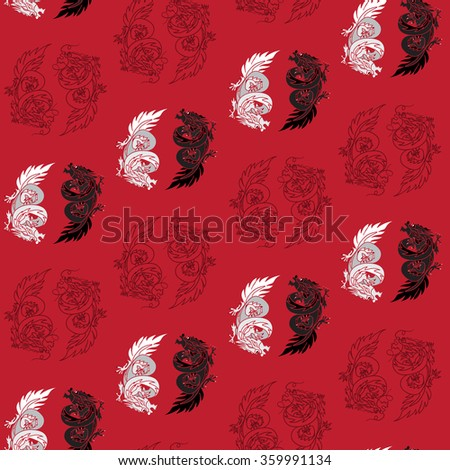 Chinese Dragon Oriental Feng Shui in symbol of the Yin Yang. Seamless isolated china pattern. Vector - stock vector