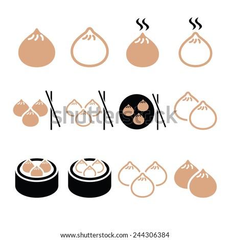 Chinese dumplings, Asian food Dim Sum vector icons set  - stock vector