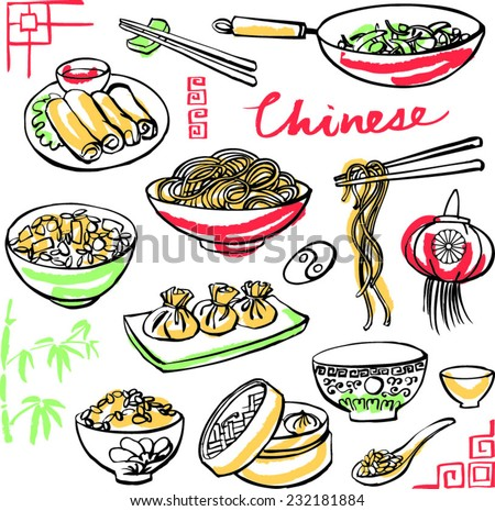 Chinese food icons drawing vector set - stock vector