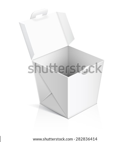 Chinese food opened take out box. Container for fast food, asian lunch, empty cardboard. Vector illustration - stock vector