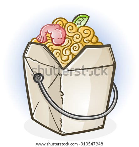 Chinese Food Take Out Box Cartoon - stock vector