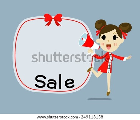 Chinese Girl Business with megaphone advertising , promotion marketing concept - stock vector