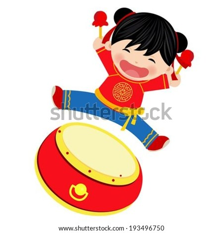 Chinese girl,happy new year - stock vector