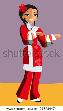 Chinese girl in traditional dress. Vector illustration - stock vector