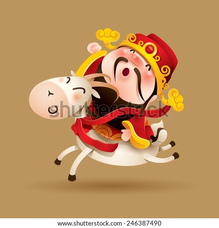 Chinese God of Wealth and Goat - stock vector