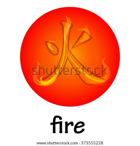 Chinese hieroglyph FIRE - stock vector