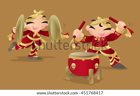 Chinese kids playing drum and cymbals