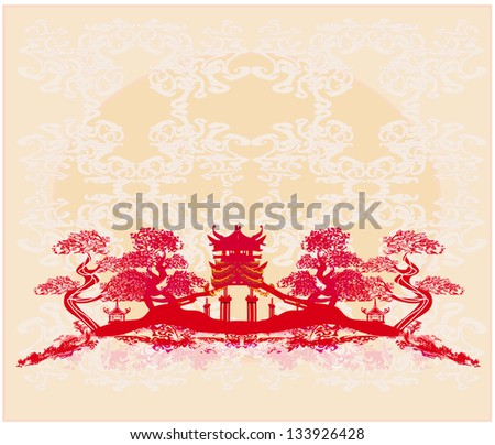 Chinese landscape - abstract ancient buildings - stock vector