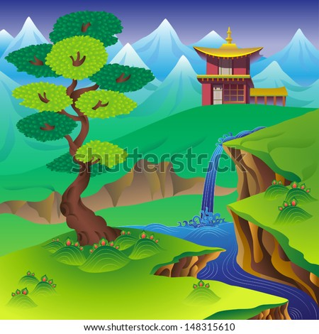 Chinese landscape with tree, waterfall, mountains and house. - stock vector