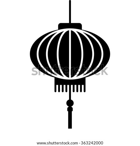 Chinese lantern festival flat icon for apps and websites - stock vector