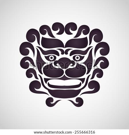 Chinese Lion Logo Stock Vector 255666316 Shutterstock
