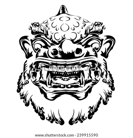 Chinese Lion Vector Stock Vector 239915590 Shutterstock