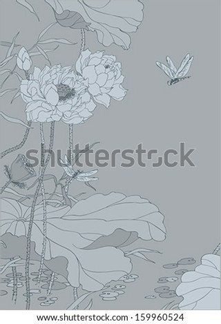 Chinese lotus on grey background - stock vector