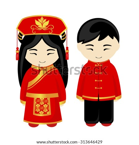 chinese man chinese woman chinese people stock vector 313646429