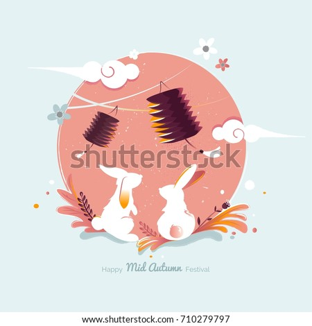 Chinese mid Autumn Festival design. Holiday background with rabbits, floral elements and lanterns. Vector illustration.