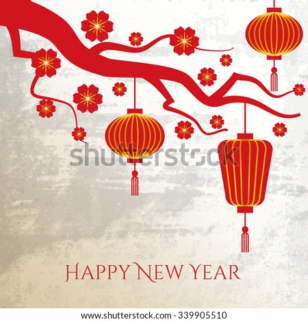 Chinese New Year background. Celebration traditional, prosperity asian culture, vector illustration - stock vector