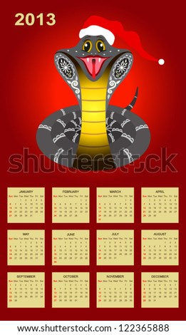 Chinese New Year Calendar for 2013 year with smiled snake (week starts with sunday). - stock vector