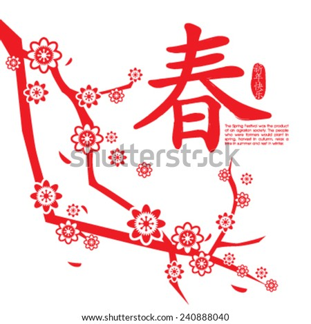 Chinese New Year card with plum blossom. Chinese Calligraphy CHUN, Translation: spring, spring season. . Translation of Stamps: Happy New Year - stock vector