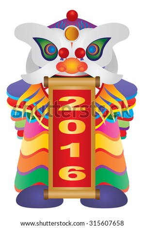 Chinese New Year Colorful Lion Dance Holding Scroll with Numerals 2016 Happy New Year Isolated on White Background Vector Illustration - stock vector
