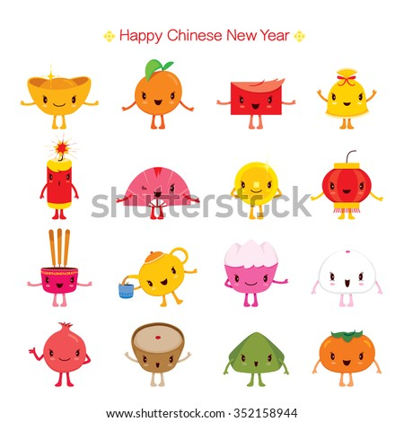 Chinese New Year Cute Cartoon Design Elements, Traditional Celebration, China