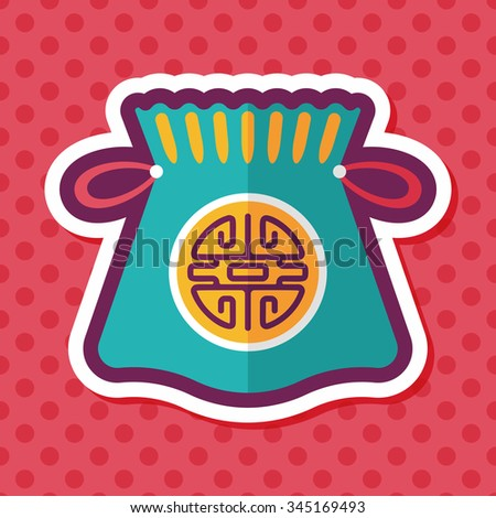 Chinese New Year flat icon with long shadow,eps10, Chinese lucky gifts