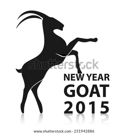 chinese new year 2015 goat animals in black silhouette geometric isolated on the white background - Chinese New Year 2015 Animal