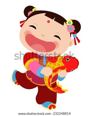 Chinese new year greeting card - girl - stock vector