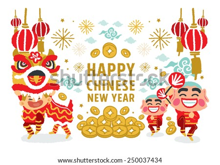 Chinese New Year Lion Dancing concepts - freehand drawing vector Illustration - stock vector
