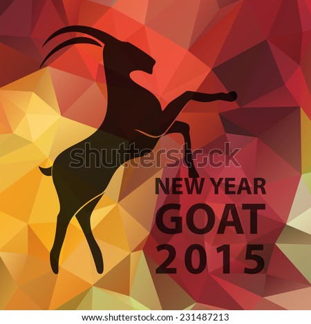 Chinese New Year 2015 of goat logo silhouette on golden red geometric pattern. Vector illustration EPS10