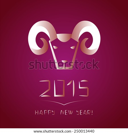 Chinese new year of the goat. Ram on purple background. Vector illustration - stock vector