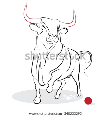 Chinese new year 2021 of the Ox (Ox year). Greeting or invitation card for the holiday. Vector illustration