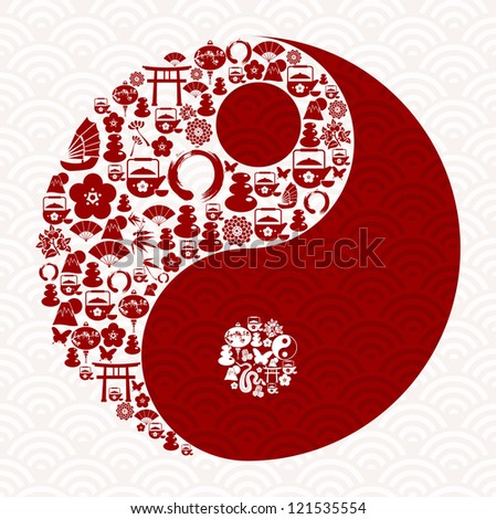 Chinese New Year of the Snake icon set yin yang composition. Vector illustration layered for easy manipulation and custom coloring. - stock vector
