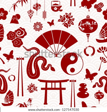 Chinese New Year of the Snake icons seamless pattern. Vector illustration layered for easy manipulation and custom coloring. - stock vector