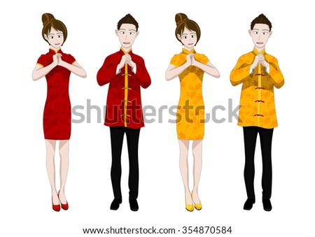 Chinese New Year People Greeting Vector Illustration