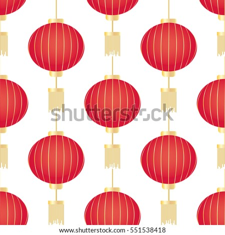 Chinese New Year seamless pattern with red lanterns. Vector illustration.
