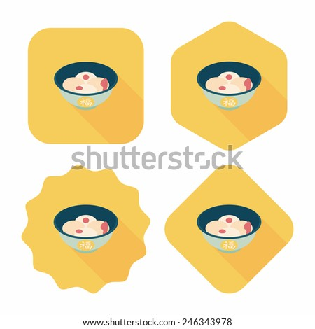 Chinese New Year tangyuan flat icon with long shadow,eps10