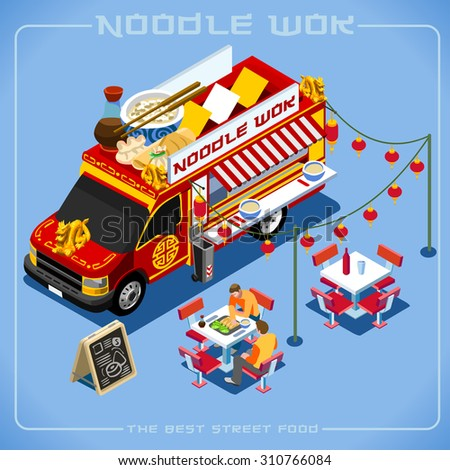 Chinese Noodle Wok Food Truck Delivery Master. Street Food Chef Web Template 3D Flat Vector Icon Set Isometric Food Truck Full Taste High Quality Dishes Alternative Street Cuisine Illustration. - stock vector