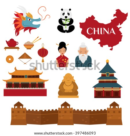 Chinese objects asian oriental decoration and chinese objects sightseeing festival gold ancient. Chinese objects sightseeing. Chinese traditional culture lanterns and objects vector illustration.