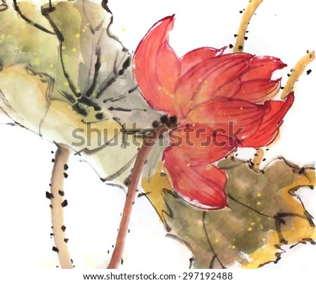Chinese painting. Red lotus. - stock vector