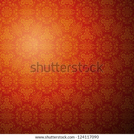 Chinese pattern background. Vector illustration for your fashion design. Stylish elements for web design. Endless eastern red and yellow ornamental. Easy to use and change color. - stock vector