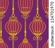 Chinese Pattern with Cages and chain in purple - stock vector